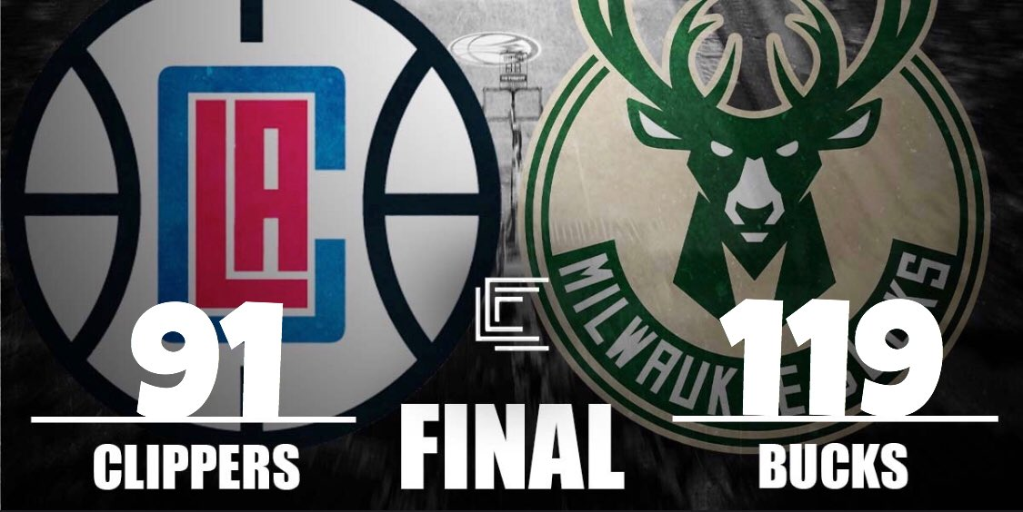 PURE DOMINATION  BUCKS WIN 14TH STRAIGHT GAME!!  Giannis goes for 27 Points, 11 Rebounds & 4 Assists, Middleton adds 17 on 7-9 shooting & 4 other Bucks score in double digits as the Bucks destroy the Clippers 119-91!!  Milwaukee is now 20-3 on the season!   #FearTheDeer