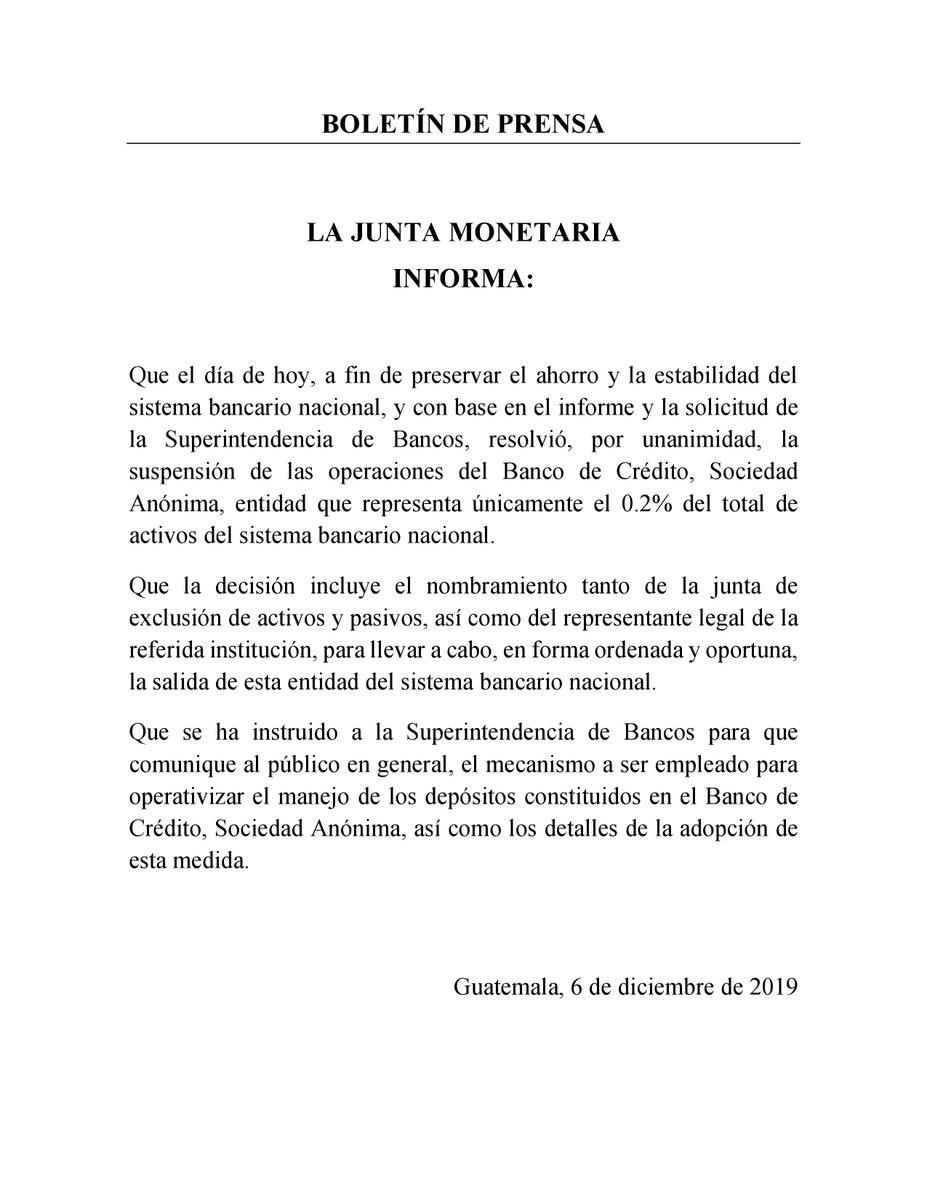test Twitter Media - La Junta Monetaria con base en el informe y la solicitud de la Superintendencia de Bancos, resolvió, por unanimidad, la suspensión de las operaciones del Banco de Crédito, Sociedad Anónima. https://t.co/sdm8ZYHKvn
