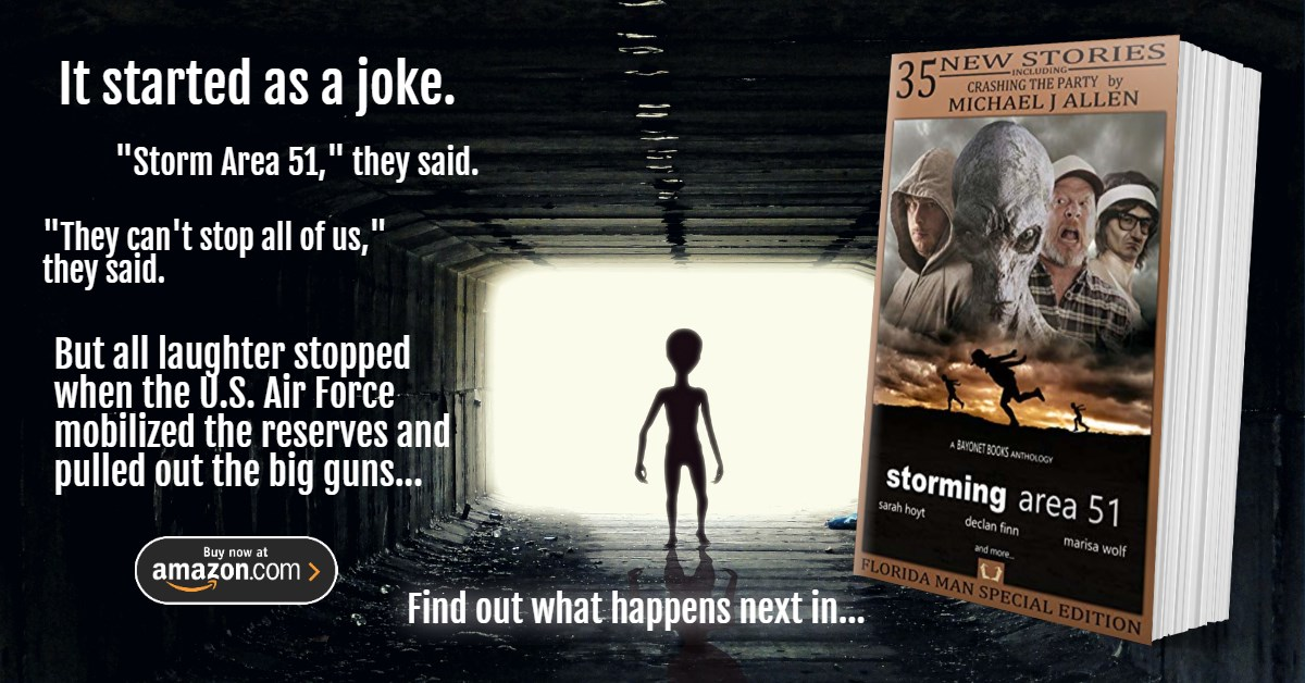 STORMING AREA 51  35 stories of what might have happened if they'd really had the balls to do it.   https://www. amazon.com/Storming-Area- 51-Bayonet-Anthology-ebook/dp/B07XFV7P9T  …   #Area51 #Area51storm #shortstories #Anthology #SciFiBooks #SciFiFri #Sciencefiction #Aliens #scifi<br>http://pic.twitter.com/CQBYwqvRS5