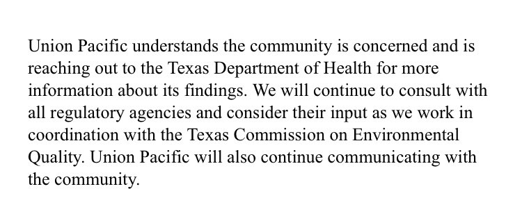 Here is Union Pacific Railroad's response to the new Texas Department of State Health Services study: <br>http://pic.twitter.com/cxTHpdmTfD
