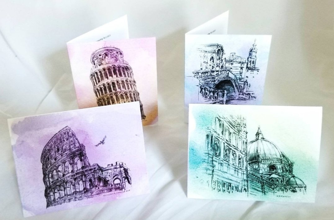 Italian drawing card sets available in our shop! Link below:   #Italian #Italianart #italia #artworks #greetingcards #invitations #artist #shopping #shopsmall #Christmas #art #artist #Rome #Colosseum #duomo #florence #pisa #venice