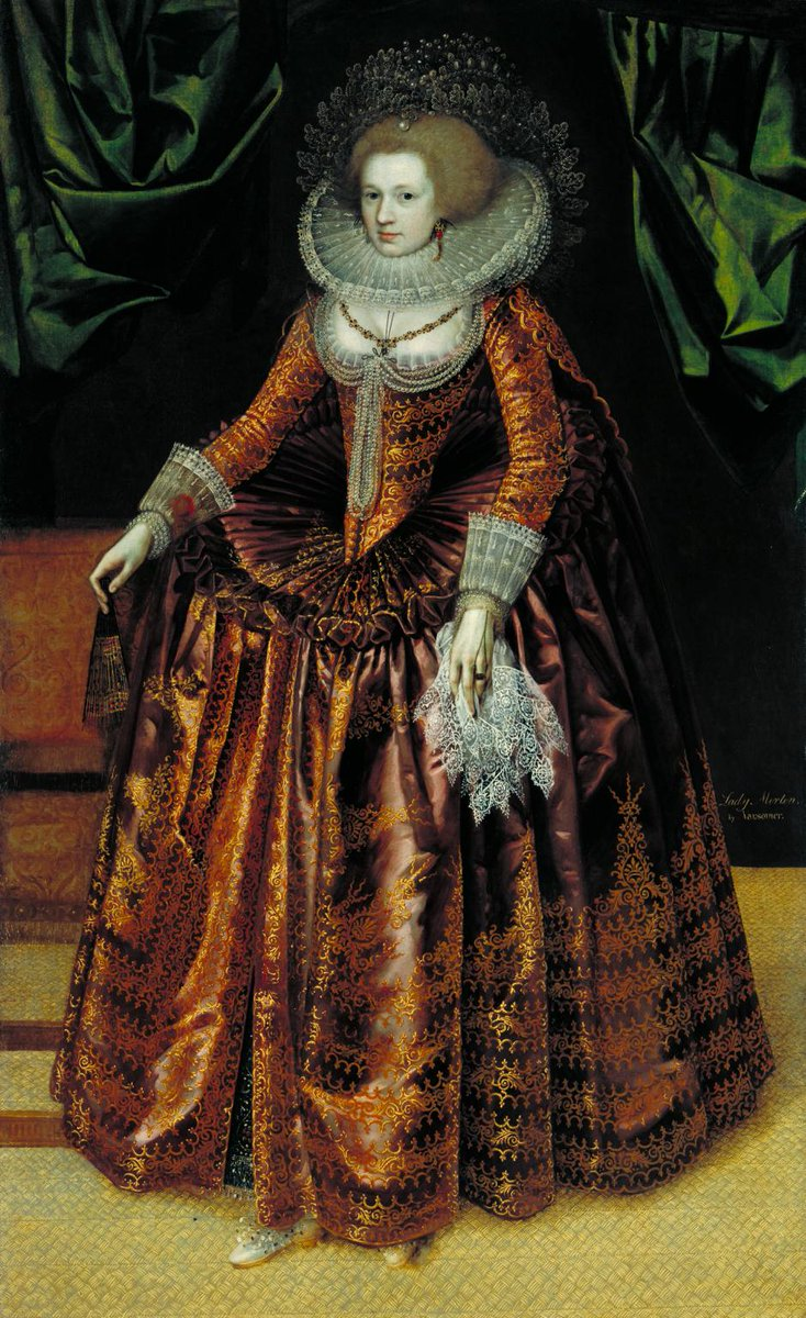 Day 7 of The Seventeenth Century Lady's #17thCentury Advent Calendar  Now, I don't know about you, but this is the sort of thing I would *love* to wear to a Christmas party. Unknown artist, Britain, Portrait of Anne Wortley, Later Lady Morton c.1620, Tate. #KeepItStuart<br>http://pic.twitter.com/90b2czIQqX