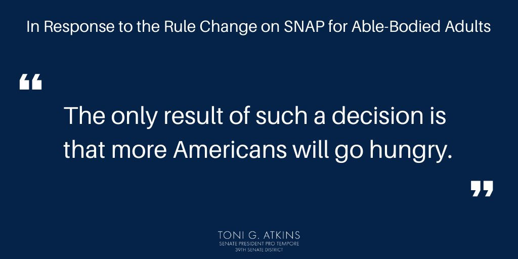 """Loving my Senate Pro Team """"The outcome of this reckless decision will make it harder for adults on the brink of homelessness to get the food they need and is the latest in a series of federal decisions to limit access to food for impoverished families."""" @SenToniAtkins #hunger<br>http://pic.twitter.com/hNHyZRlidD"""