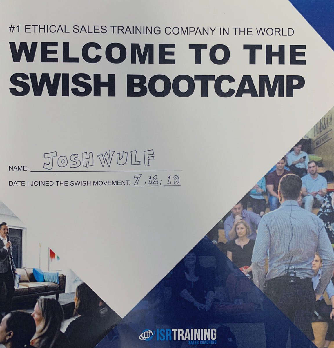 """Doing the @ISRTraining SWISH Bootcamp this weekend - """"Selling With Integrity, Selling Honestly"""". #fullstack <br>http://pic.twitter.com/WN4n3nvnnS"""