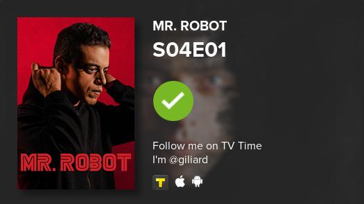 I've just watched episode S04E01 of Mr. Robot! #mrrobot  #tvtime https://tvtime.com/r/1eJmf
