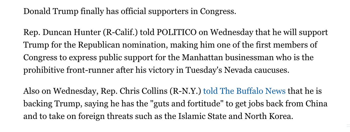 Duncan Hunter resigning means Trump's first two congressional endorsers will both have resigned from Congress over felony charges. The first being Chris Collins who resigned in September. <br>http://pic.twitter.com/IgliqocbL3