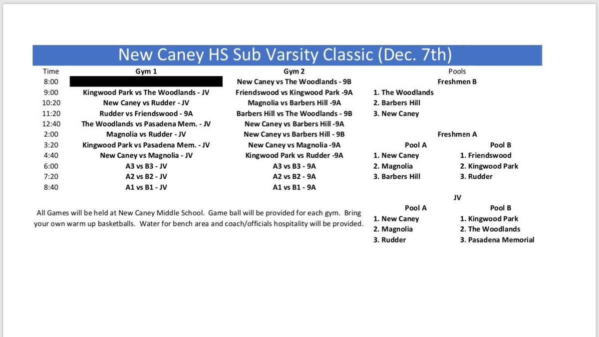 JV and Freshmen A back in action tomorrow at the @newcaneyhoops sub-varsity classic! Game times for both teams below. Good luck and bring home some more hardware! 🏆 🏆 @NJames2332 @kasparkw #BetterToday #Family