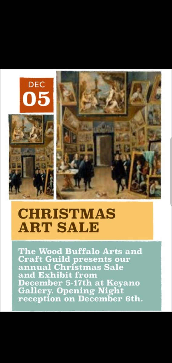 Wood Buffalo Arts and Crafts Guild Christmas Show and Sale at Keyano Art Gallery. Art opening Dec. 6th everybody welcome #ymm #ymmarts #ymmartguid #rwb #ad #event #artist #BlackFriday2019 #YMMD #arts #artistalley #ArtistOnTwitter #Careers #CharityTuesday