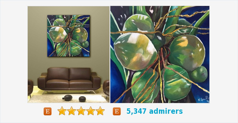 Blue Painting, Tropical Fruit Still life, Acrylic #art Title: COCONUTS #acrylic #painting