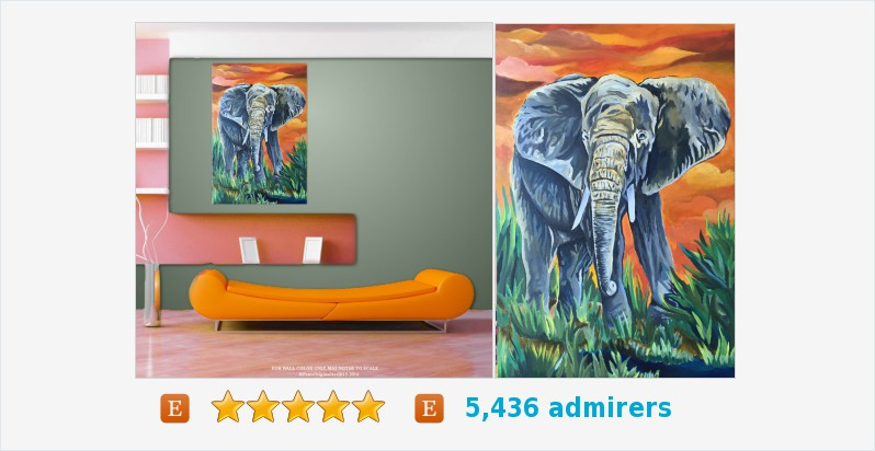 Animal Painting, Jungle African Traditional Art, Title ELEPHANT #art #acrylic #painting