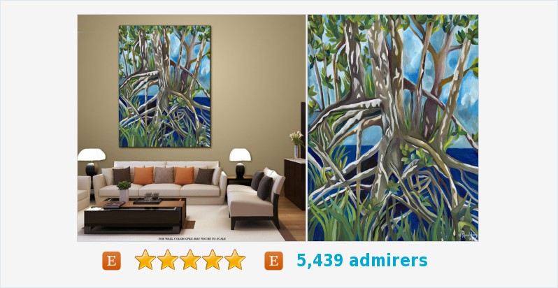 Tropical Plant life Acrylic on Canvas Gallery #art Title: MANGROVES II #acrylic #painting