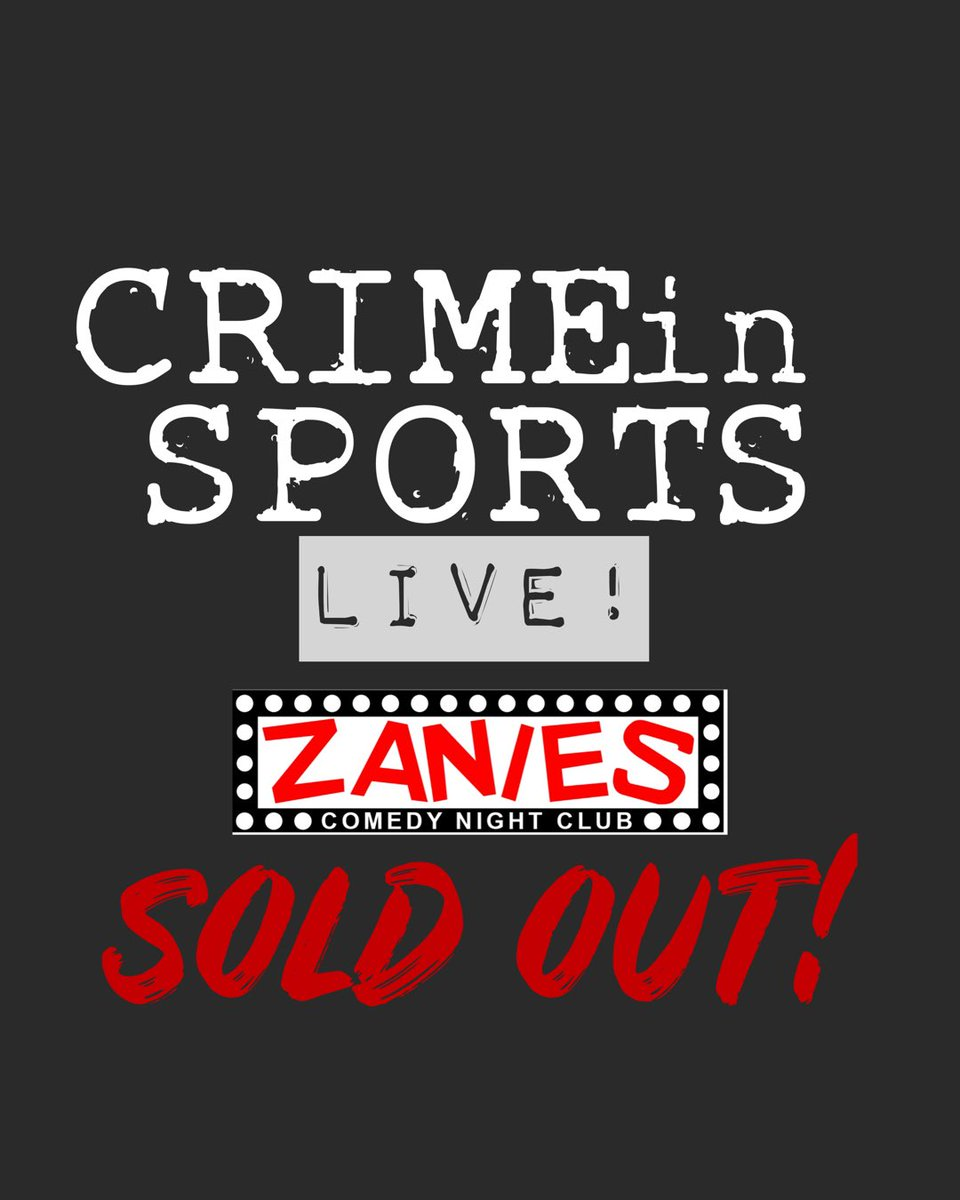 Woooooo! Fuck yeah! Crime in Sports and Small Town Murder are sold out at @zaniesnashville !!!!