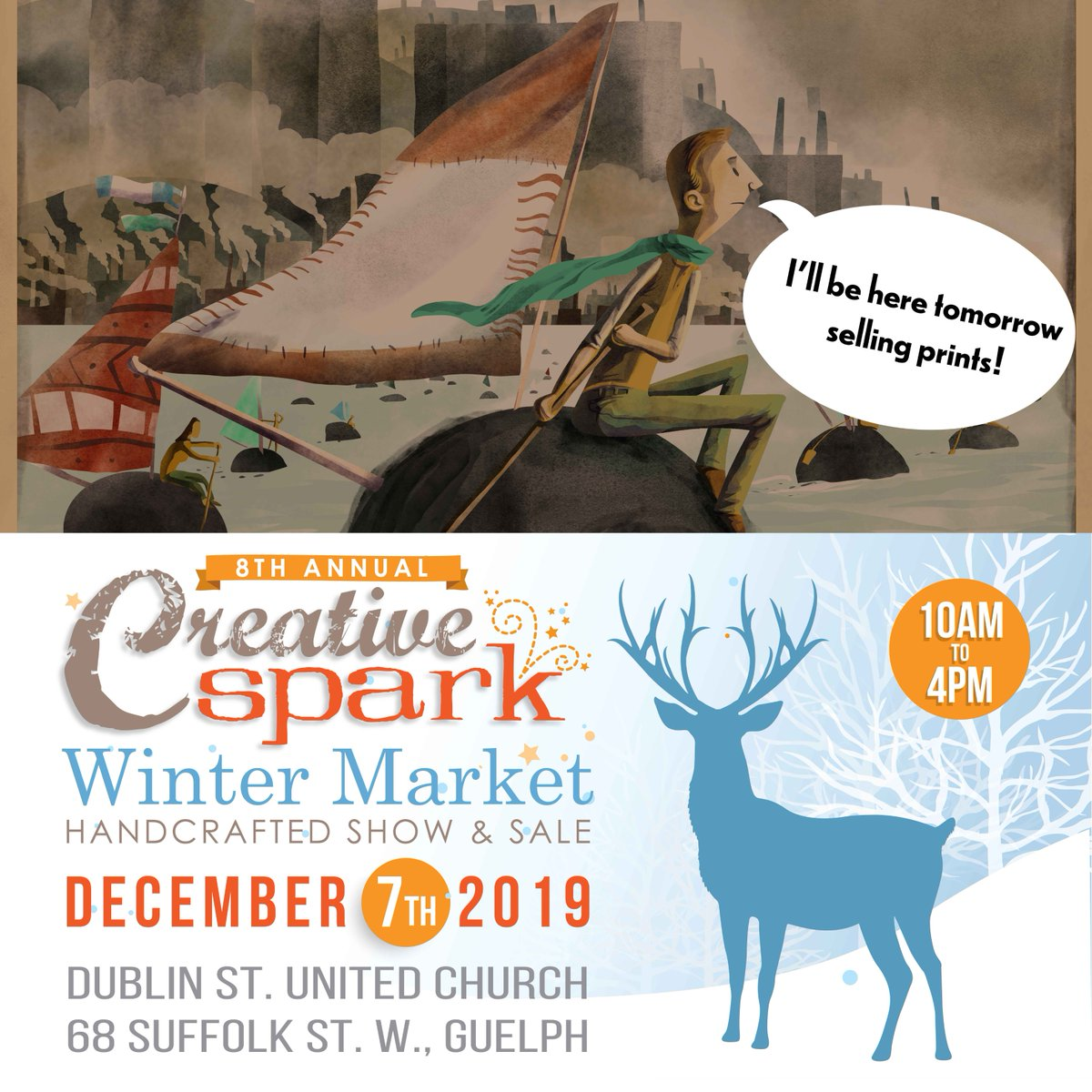 Come to Dublin St. United church tomorrow for music, baked goods, and handmade goods including my prints, book, and painting! @guelpharts @DowntownGuelph @GuelphToday @cityofguelph #art #localart #painting #buylocal #christmas2019
