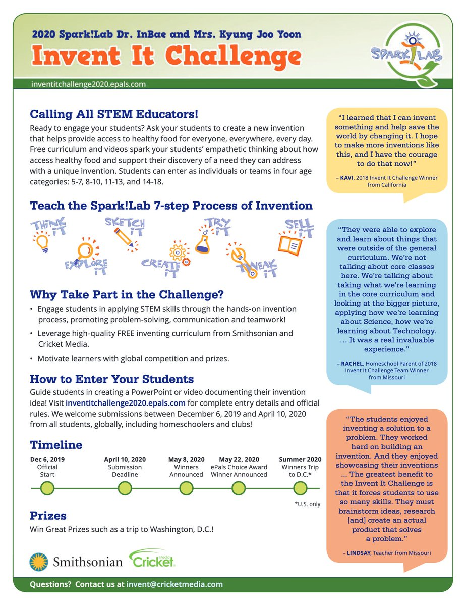 """The """"2020 Invent It Challenge"""" has officially begun!  Have your students (ages 5-18) learn the """"Process of Invention"""" to win this year's contest:   #rethink_learning #flipgridfever #TeachBetter #CelebratED #MakeEdReal #122edchat #tlapdownunder #tnedchat"""