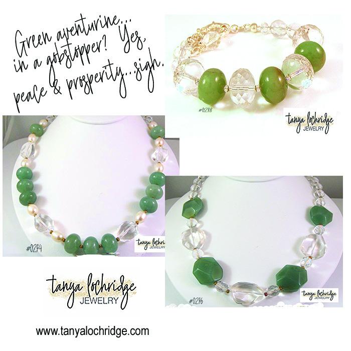 Green aventurine, crystal quartz & freshwater pearls all join together bringing you peace & prosperity in a gobstopper way! #aventurine #crystalquartz #pearljewelry#handmadejewelry #gemstonejewelry #crystalenergy #tanyalochridgejewelry #statementjewelry #professionalwoman