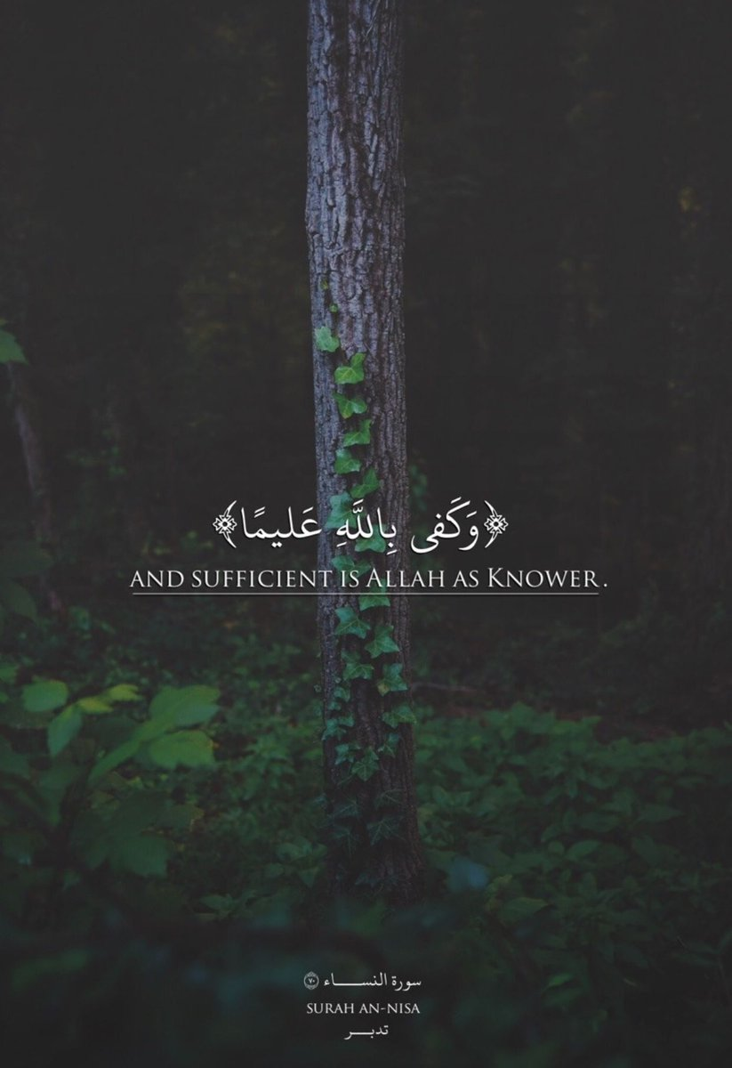 And sufficient is Allah as knower ...<br>http://pic.twitter.com/RvJ4x852s2