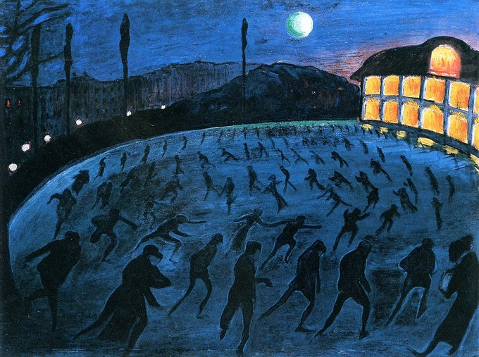 The Skaters, 1911, by Expressionist painter Marianne von Werefkin #womensart