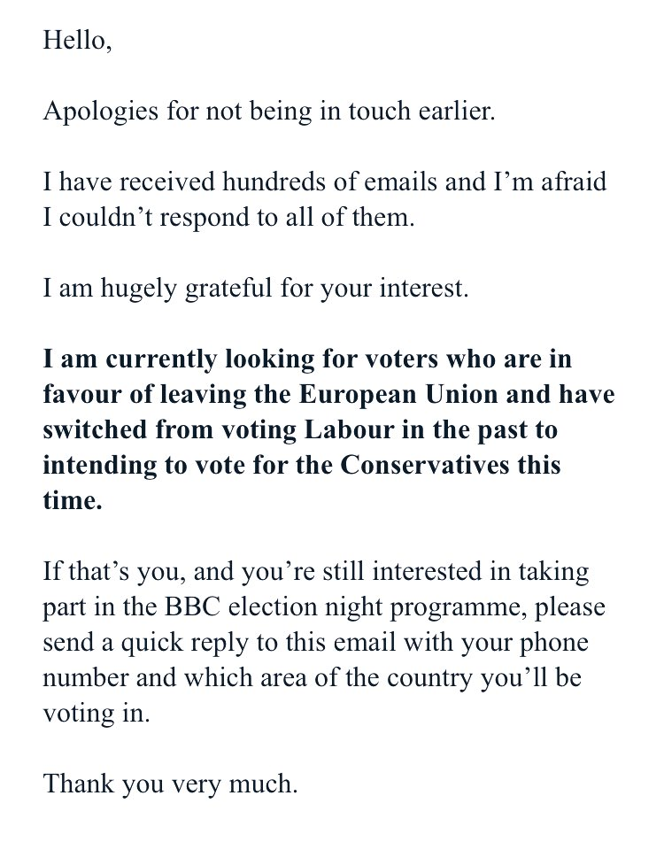 I debated whether or not to share this email, received from the BBC in response to my application to be a BAME voter on their #GE2019 results programme. I've now decided it's in the public interest, & IF there is an opposite email, sharing mine might bring it to light. #BBCBias