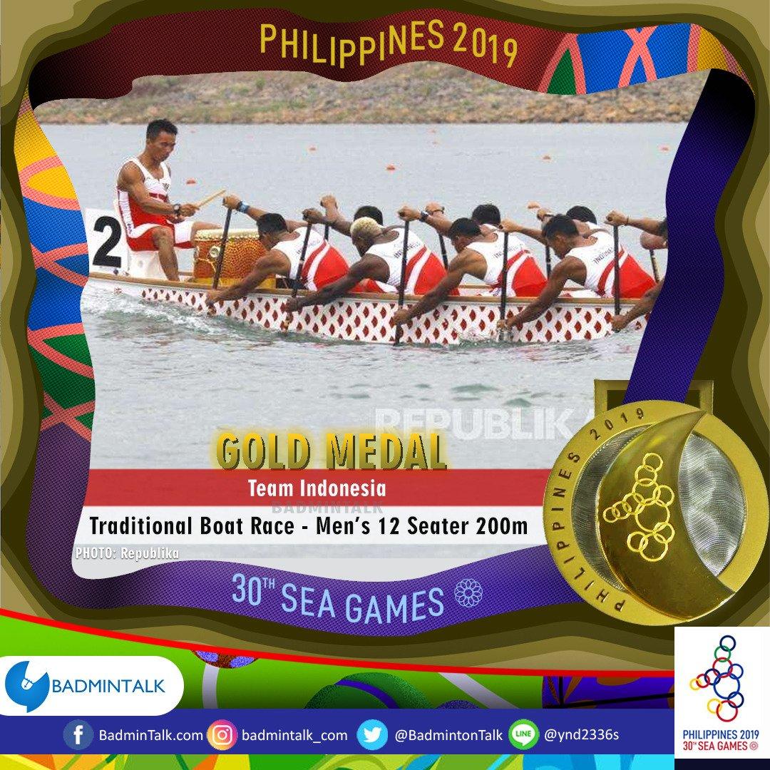 Indonesias GOLD MEDALISTS in #SEAGames2019 48. Team Indonesia Sport: #TraditionalBoatRace Event: Mens 12 Seater 200m 🥇Indonesia 🥈Thailand 🥉Myanmar Emas juga dari perahu naga!