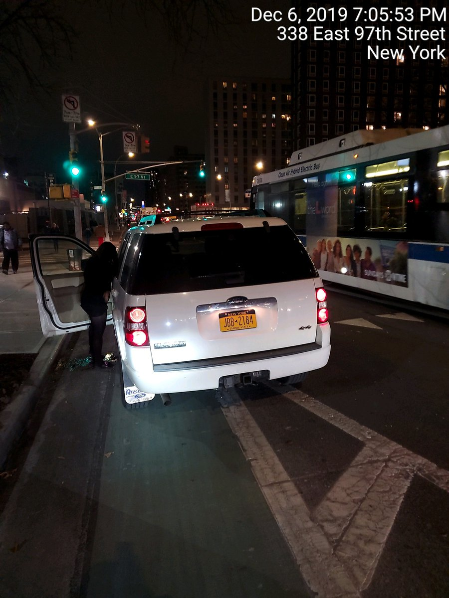 Ford Explorer driver JBB2184 blocked the bike lane near 338 E 97th St on December 6. This is in Manhattan Community Board 11 #manhattancb11 & #NYPD23. #VisionZero #BlockedBikeNYC