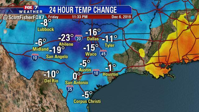 Scott Fisher Says: 24 Hour Temp Swings Across #Texas.