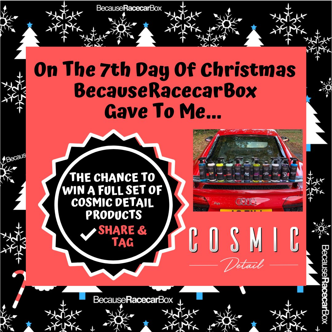 12 Days Of Christmas Day 7  GIVEAWAY!  We are giving away a full set of 11 Cosmic Detail 500ml products! All you need to do to win is:   RETWEET THIS POST  MENTION A MATE  Winner will be drawn tomorrow! Head to Facebook & Instagram for an extra entry!  Good Luck! <br>http://pic.twitter.com/xYJqZ2l1ag
