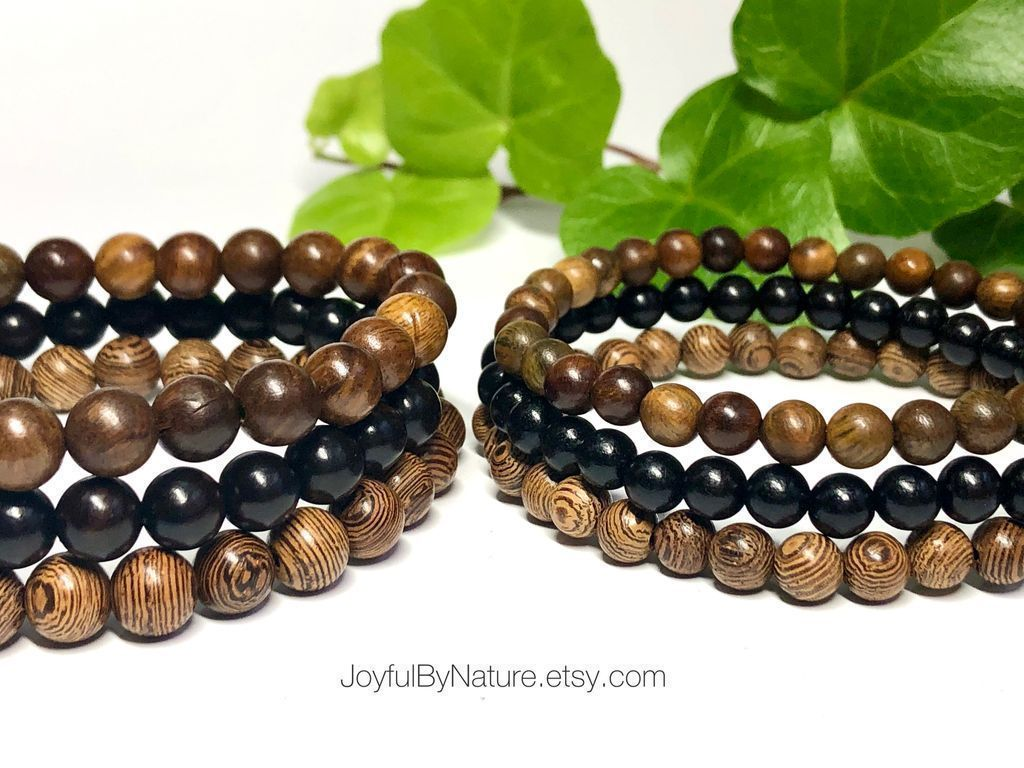 Set of three wood bracelets
