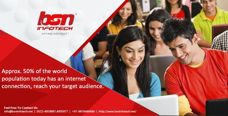 Approx. 50% of the world population today has an internet connection, reach your target audience.  Feel Free To Contact Us:- info@bsninfotech.net 0522-4959891,4005977 +91-9616466484  http://www. bsninfotech.net /     #AppDevelopment #Android #IOS #MobileAppDevelopment<br>http://pic.twitter.com/z7UBG9pOxA
