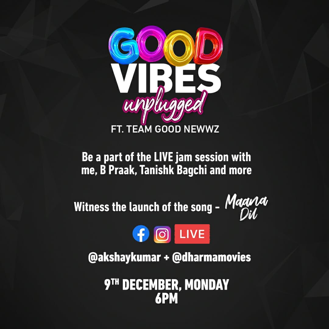 Plug-in to #GoodVibesUnplugged on Monday at 6pm LIVE and join in on the launch of our next song - #MaanaDil! #GoodNewwz Set your reminders here -bit.ly/GoodVibesUnplu… #KareenaKapoorKhan @diljitdosanjh @Advani_Kiara @karanjohar @apoorvamehta18@ShashankKhaitan @raj_a_mehta