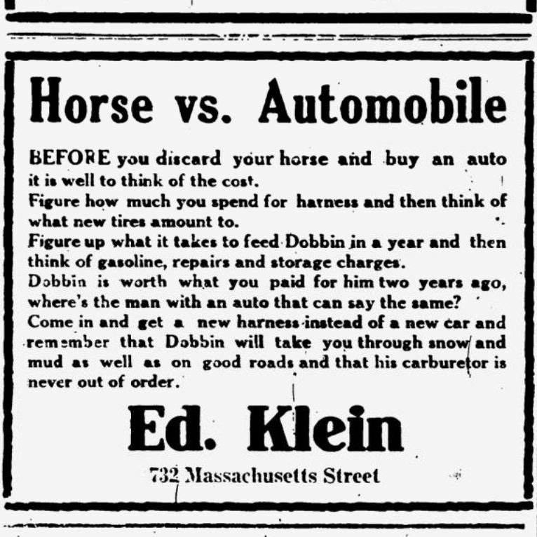 People resist new technology, new ideas. As Dostoevsky opens Crime & Punishment with: Taking a new step, uttering a new word, is what people fear most. I think fear points the way toward progress. Heres an ad from 1915 (via @PessimistsArc) suggesting a horse outperforms a car.