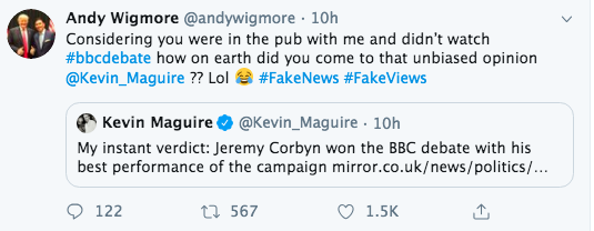 We truly live in an era of Johnsonian lying: Fake News fabricated claim by a Bad Boy of Brexit that I didnt watch the election TV debate and was in the pub with him: 567 Retweets, 1.5k Likes Admission by the Bad Boy of Brexit he made up the claim: 0 Retweets, 16 Likes
