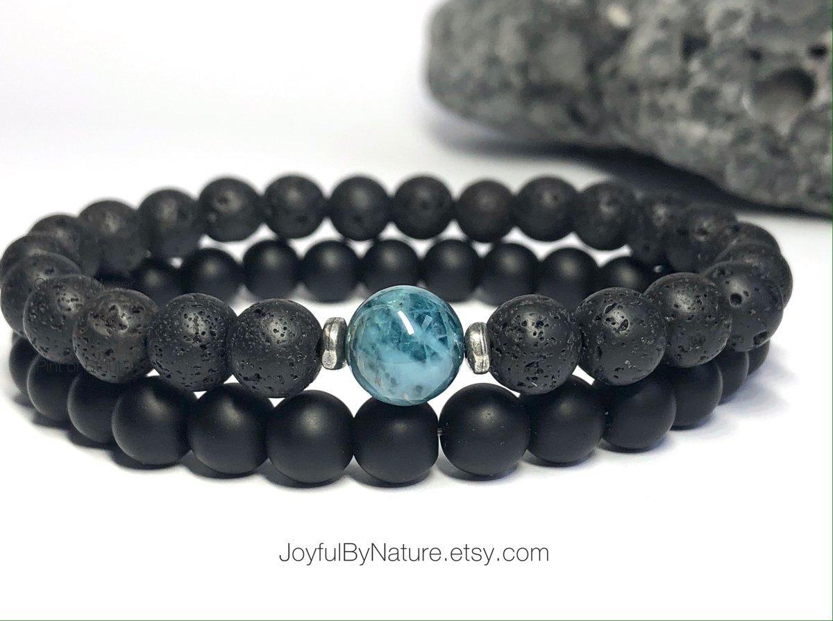 Apatite and lava rock bracelet with onyx bracelet