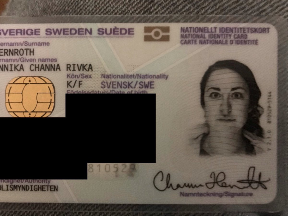 Went to get a new National ID card & passport at a police station in #Sweden, handing in employment papers from an Israeli newspaper as well as proof of ID with 2 very Jewish names (while wearing a Magen David btw). Got back my ID and my nose has been doctored as seen below.