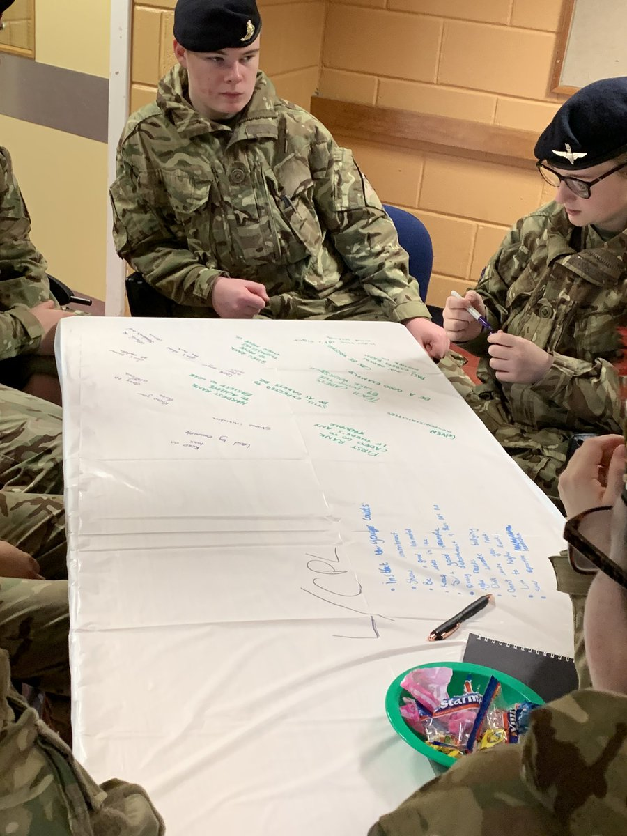 This morning the cadets are in sections discussing the different NCO Ranks, there responsibilities, roles and characteristics. Some great points brought up by the different sections #ACF #ArmyCadets #ADNCO19 @acfadbn @ArmyCadetsUK @ArmyCadetsScot
