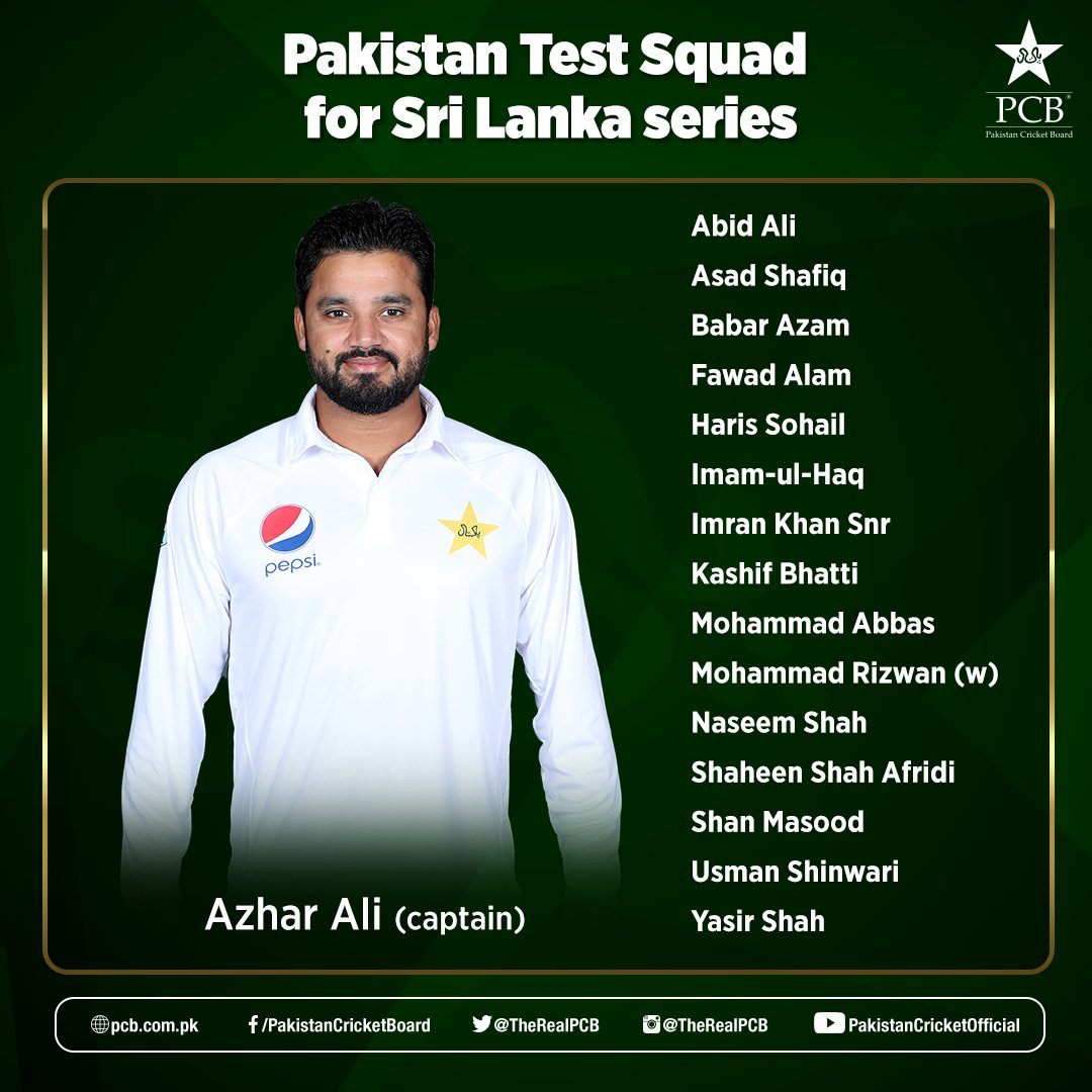 Squad for #PAKvSL Test series.<br>http://pic.twitter.com/wglKwflMDe