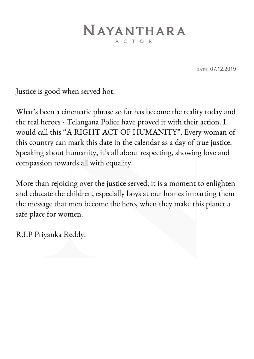 Press release from the desk of Actress #Nayanthara   #JusticeForDisha  @DoneChannel1<br>http://pic.twitter.com/pdF75HuF7v
