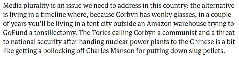 """So many relentless zingers in @frankieboyles pre-election piece I feel quite exhausted. Particularly liked Boris Johnson, who looks like something you'd keep your pyjamas in."""" It does, however, end on rather a touching and hopeful note. theguardian.com/politics/2019/…"""