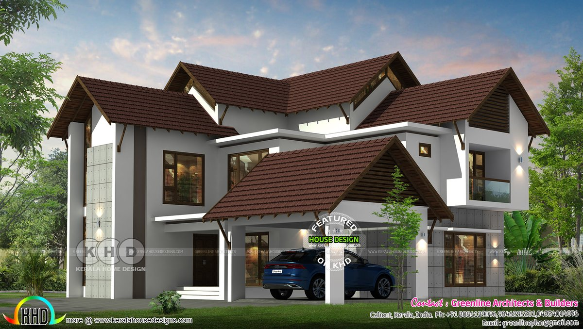 Kerala Home On Twitter Sloping Roof Luxury Home In Kerala Https T Co L5zogchjya
