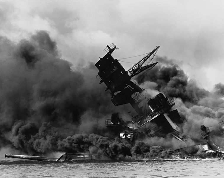 December 7 1941 – World War II: Attack on Pearl Harbor: The Imperial Japanese Navy carries out a surprise attack on the United States Pacific Fleet and its defending Army and Marine air forces at Pearl Harbor, Hawaii.  Below: USS Arizona burning after the Japanese attack. <br>http://pic.twitter.com/Z0ySIL1jSl