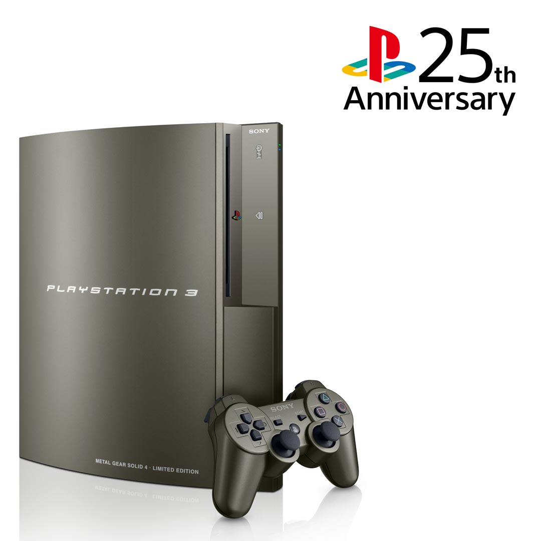 Released in 2008, the Limited Edition Gun Metal Gray PlayStation 3 / Metal Gear Solid 4 bundle brought an understated matte aesthetic to the console #25YearsOfPlay <br>http://pic.twitter.com/4QTTArsJan