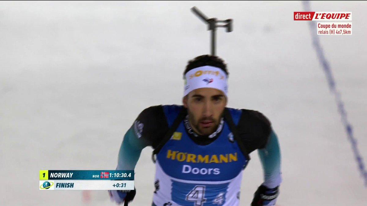 Léquipe de France finit deuxième du relais hommes à Ostersund derrière la Norvège, belle performance des Bleus 👏🇫🇷 #lequipeBIATHLON