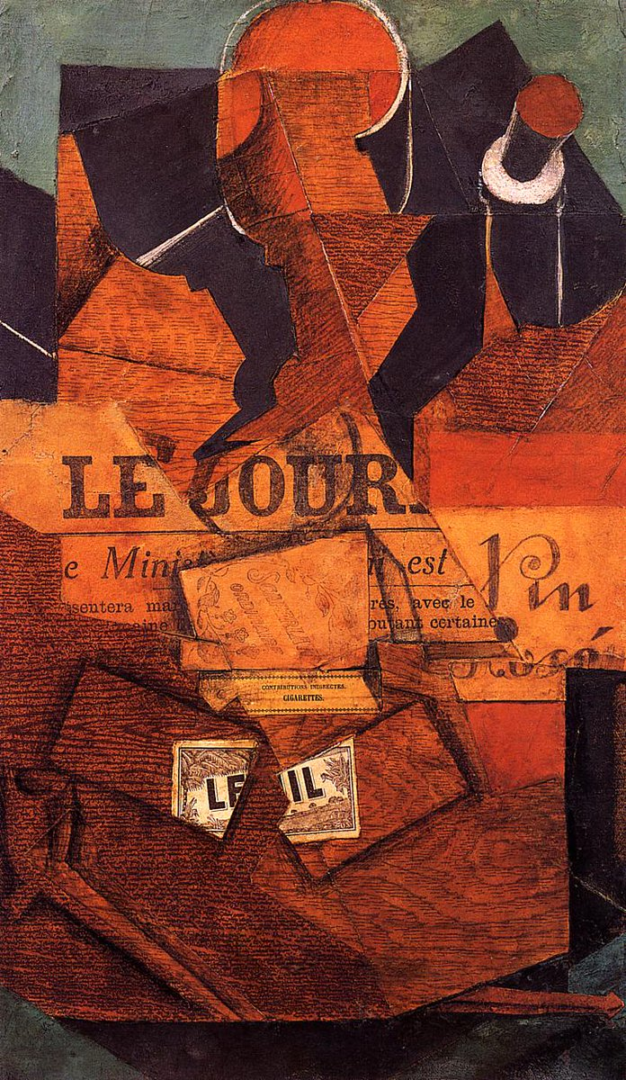 Tobacco, Newspaper and Bottle of Wine, 1914 #syntheticcubism #juangris <br>http://pic.twitter.com/qRvJHNS2Jh