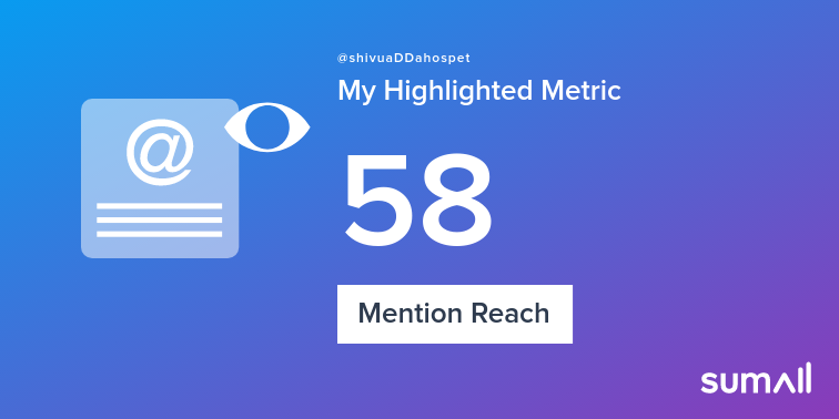 My week on Twitter 🎉: 1 Mention, 58 Mention Reach, 3 Likes, 9 New Followers. See yours with