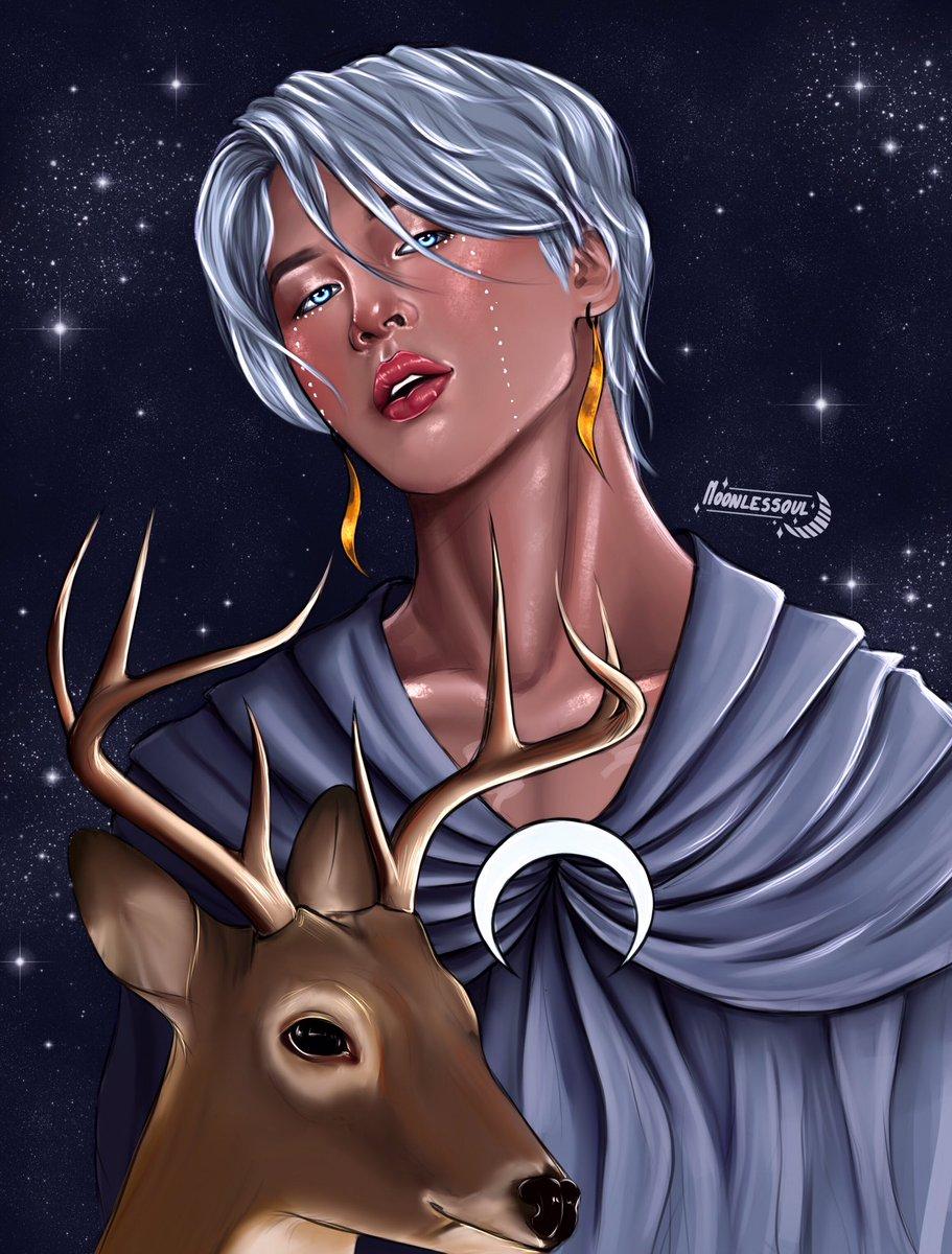 Artemis  The goddess of the hunt, wilderness, archery and the Moon.   [2/7] #btsfanart #jiminfanart<br>http://pic.twitter.com/GhV4QpBzkE