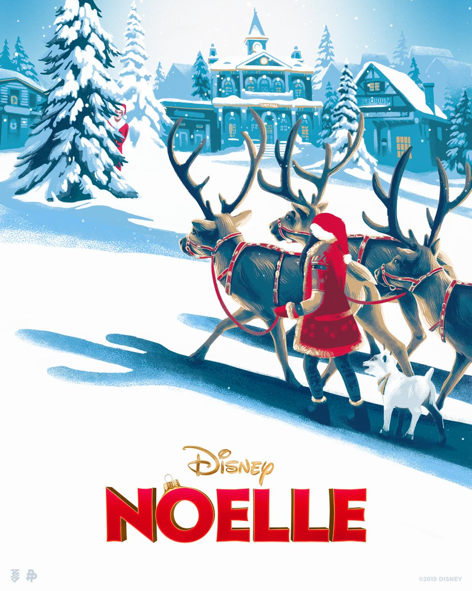Check out this holly, jolly artwork by @bellagraceart. #Noelle is now streaming on #DisneyPlus.