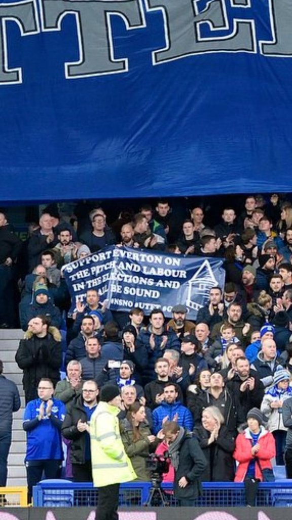Fans of both Liverpool and Everton with banners proclaiming their support for Labour in the General Election. This is what happens when you ban a politically poisonous right-wing newspaper, with Rupert Murdoch urging the working classes to turn against each other.