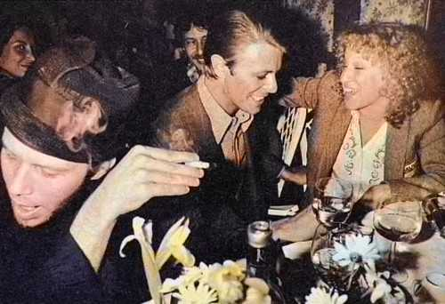 Happy Birthday Tom Waits   David Bowie, Tom Waits and Bette Midler at the Ma Maison Restaurant in L.A, 78