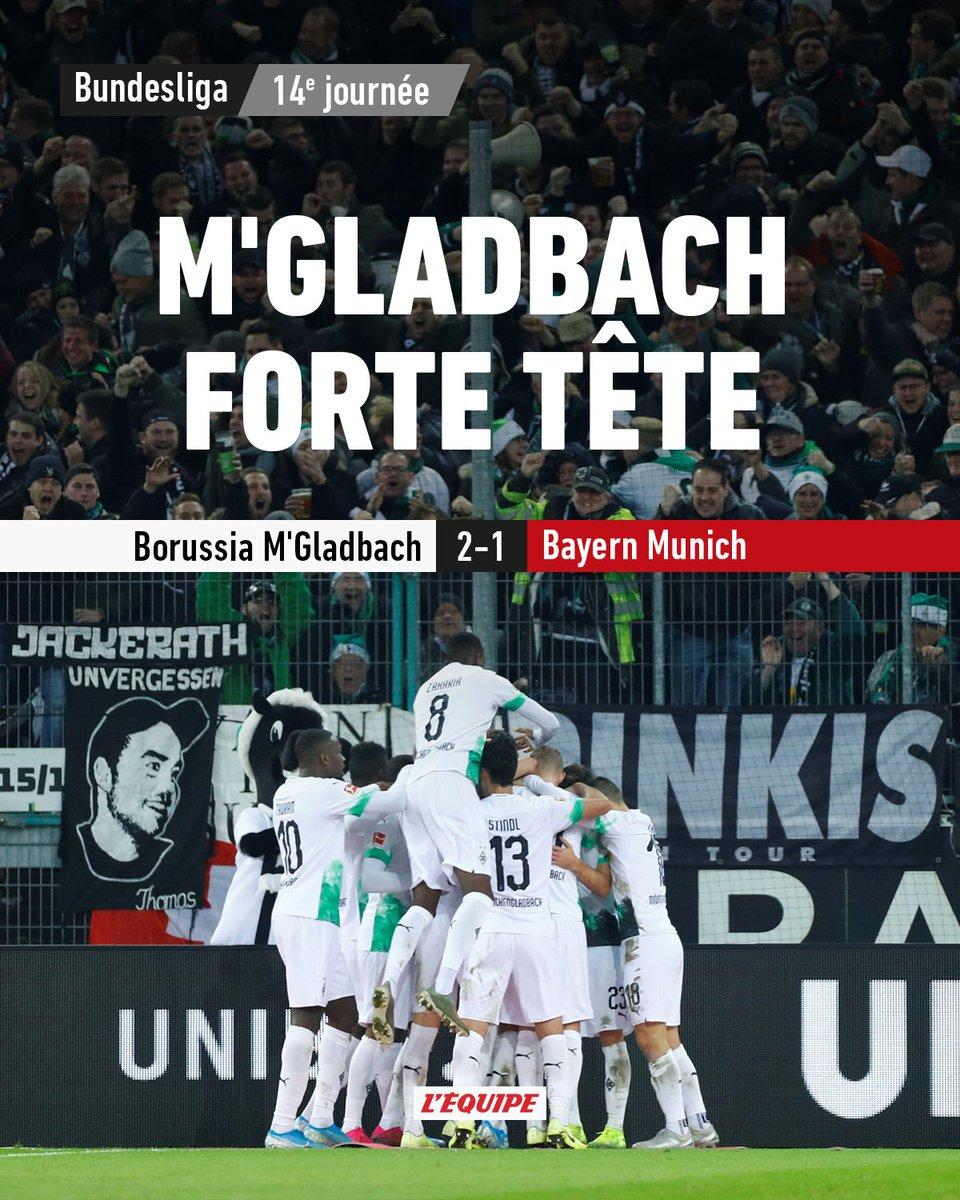 Le Bayern Munich a perdu dans le temps additionnel face au Borussia Monchengladbach (2-1). Lancien Rennais Ramy Bensebaini a inscrit un doublé. Le match > ow.ly/JQ5030pZRVM #BMGFCB