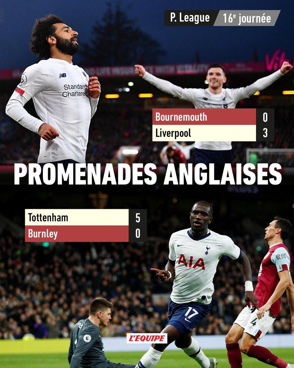 Alors que le leader de Premier League a encore gagné (3-0), samedi à Bournemouth, les Spurs se sont relancés contre Burnley (5-0), trois jours après leur défaite à MU. Les matches > ow.ly/cnJW30pZSfK #BOULIV