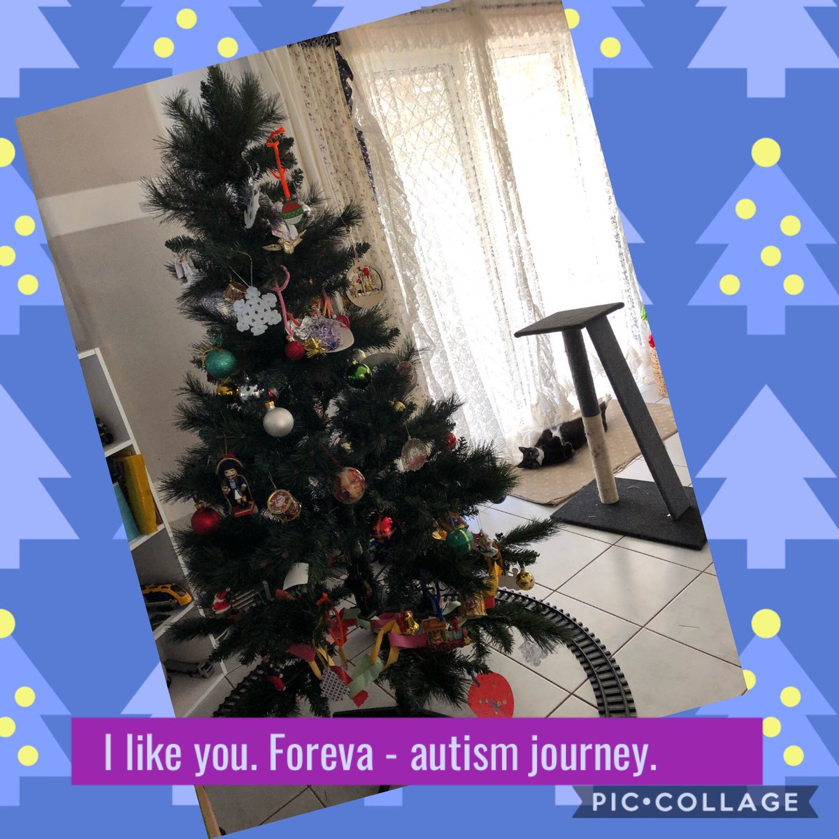 #merrychristmas everyone. Hope it's an #amazing day spent with your loved ones. #christmas. #happy. #love. #support. #family. #smiles. #ilikeyouforevaautismjourney #christmasTree #tree. #decorations. #tinsel.